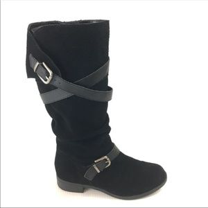 NINE WEST Strappy Knee High Suede Riding Boots